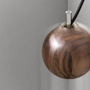 hanglamp met houten bol verlichting